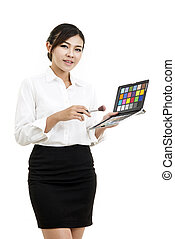 business woman doing makeup isolate white background