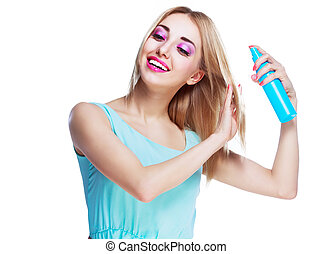woman with a hair spray - pretty happy woman with a hair ...