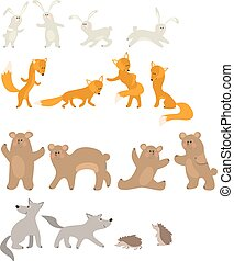 Pretty hare, fox, bear, wolf and hedgehog isolated