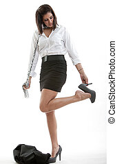Pretty hispanic brunette woman in business clothes