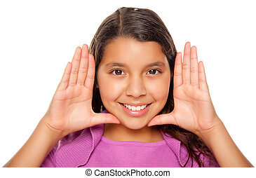 Pretty Hispanic Girl Framing Her Face with Hands