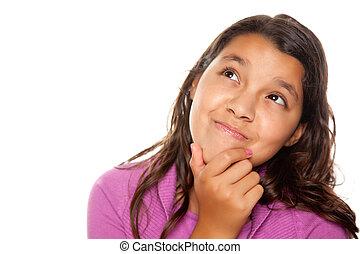 Pretty Hispanic Girl Thinking