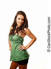 Pretty Hispanic Woman in Casual Green Outfit