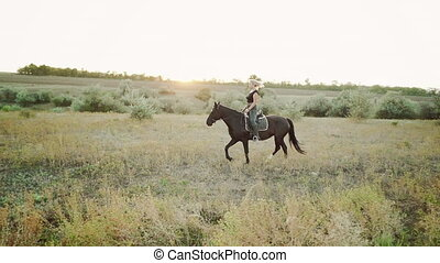 Pretty horsewoman riding dark horse on field in fall. Concept of farm animals, training, horse racing, nature. Slow motion.