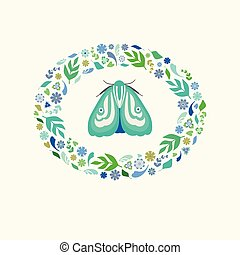 Pretty illustration of a green moth with floral and leaf wreath surround. A spring or summer vector design ideal for card or spot graphic projects.