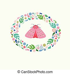 Pretty illustration of a pink moth with floral and leaf wreath surround. A spring or summer vector design ideal for card or spot graphic projects.