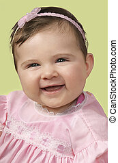 Pretty in pink - Baby girl in pink outfit and matching pink...