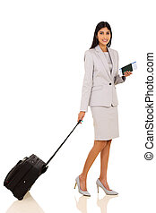 indian businesswoman travelling