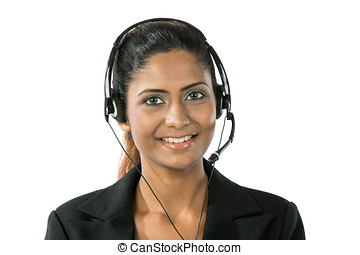Pretty Indian call centre employee. - Portrait of a happy...