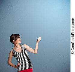 Pretty lady gesturing with copy space - Pretty young lady ...