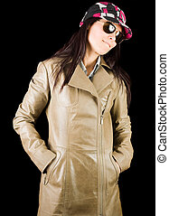 Pretty lady in overcoat - Beautiful brunette lady with cap...