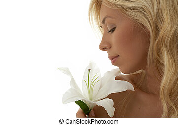 madonna lily - pretty lady with madonna lily