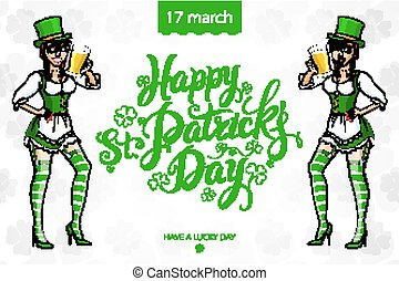 Pretty leprechaun girl with beer, St. Patrick's Day logo design with space for text, isolated