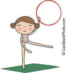pretty little girl doing gymnastics over white