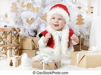 Pretty little girl dressed as Santa