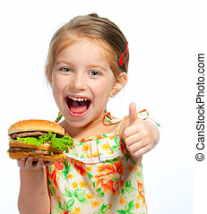 little girl eating a sandwich isolated - Pretty little girl...