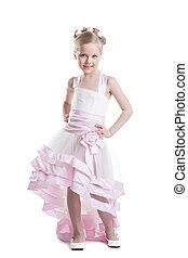 Pretty little girl in beautiful dress isoloated