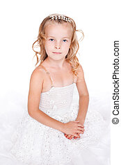 pretty little girl in beautiful white dress