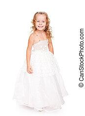 pretty little girl in beautiful white dress