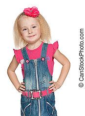Pretty little girl in jeans dress
