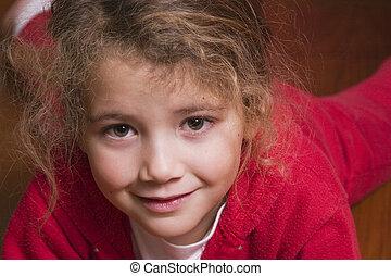 pretty little girl in red