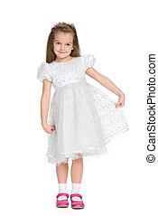 Pretty little girl in the white dress