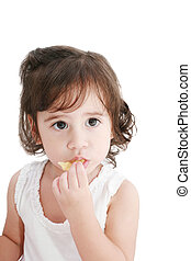 Pretty little girl. Isolated on white background