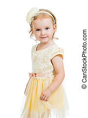 pretty little girl isolated on white background