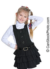 Pretty little girl on the white background