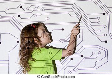 pretty little girl shows pointer on electric scheme throw...