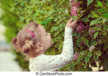 Pretty little girl smell a flower in garden