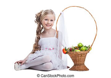 pretty little girl smile with fruits isolated