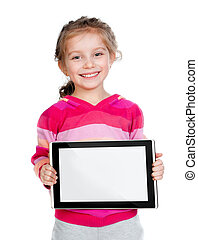 little girl with a Tablet PC