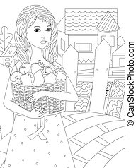 pretty little girl with wavy hair in polka dot dress holding basket with fruits against rural landscape with fence. female portrait for your coloring book
