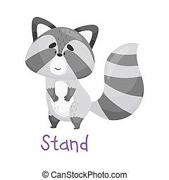 Pretty Little Raccoon Standing With Handwritten Inscription Stand Vector Illustration Cartoon Character