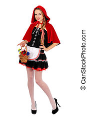 Pretty Little Red Riding Hood - Pretty young woman dressed...