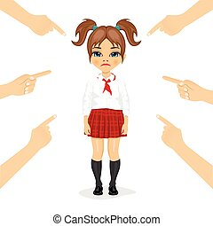 pretty little schoolgirl being accused with fingers pointing at her