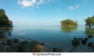 Pretty Little Tropical Island Viewed from a Shady, Deserted...
