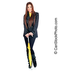 Pretty long hair woman with umbrella