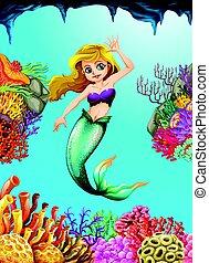 Pretty mermaid swimming underwater