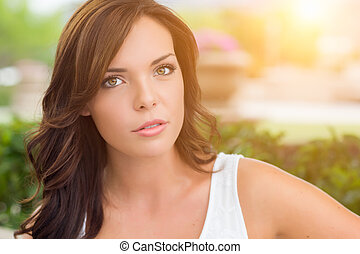 Pretty Mixed Race Girl Portrait Outdoors