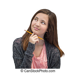 Pretty Mixed Race Girl Thinking with Pencil