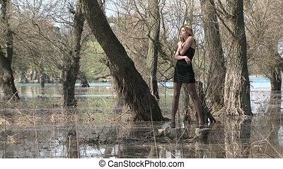 Pretty Model Posing At Park Zone In Flood