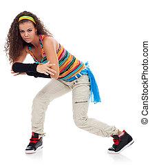 pretty modern slim hip-hop style dancer
