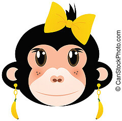 Pretty Monkey Girl in Banana Earrings and Yellow Hair Bow Isolated on White with Clipping Path