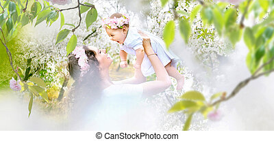 Pretty mother and her little baby relaxing in a spring orchard