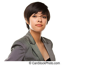 Pretty Multiethnic Young Adult Poses on White