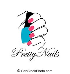 Pretty nails with a nail polish in hand