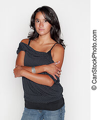 arms crossed - Pretty native american woman on white, no...