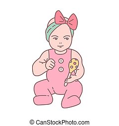 Pretty newborn baby girl dressed in romper suit sitting and...